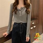 韓版顯瘦圓領薄款外穿打底素色長袖針織衫上衣女