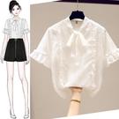 雪紡白襯衫短袖女裝夏季2020年新款蕾絲打底收腰上衣仙氣小衫洋氣