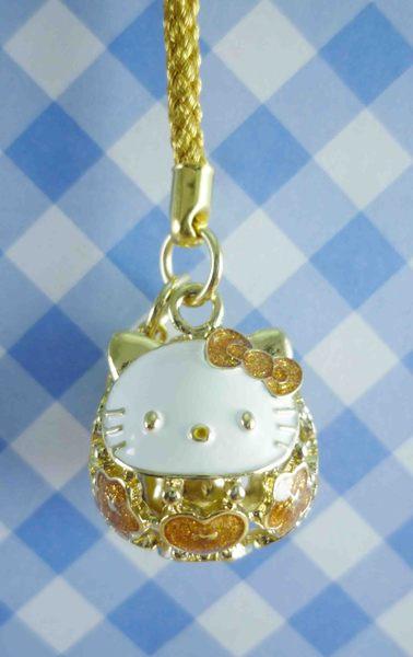 【震撼精品百貨】Hello Kitty 凱蒂貓~KITTY鈴鐺吊飾-達摩圖案-金色