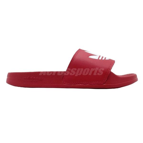 adidas 涼拖鞋 Adilette Lite 紅 白 男鞋 女鞋 涼鞋 運動拖鞋 【ACS】 FU8296