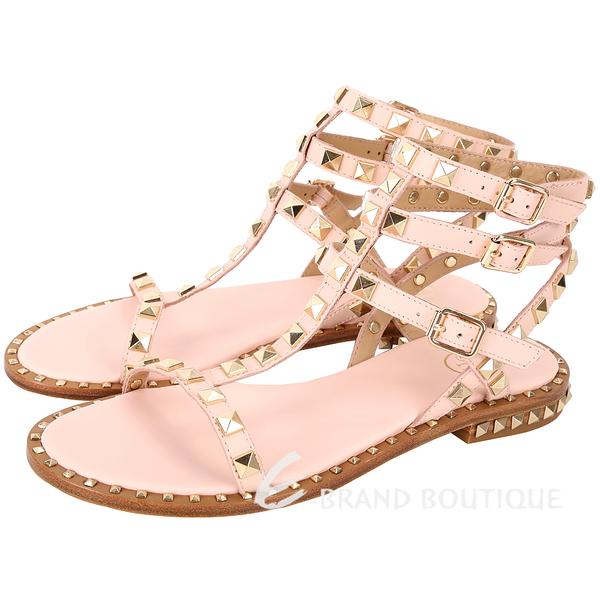 ASH Poison 金鉚釘繫帶平底羅馬涼鞋(蜜粉色) 1820373-05