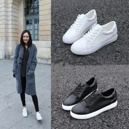 小白女鞋運動鞋休閑鞋系帶平底白色女單鞋學生板鞋潮