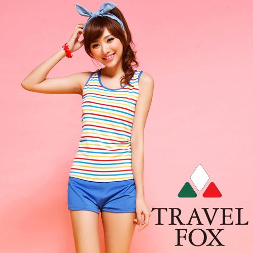 【夏之戀TRAVEL FOX】多彩條紋長版三件式泳衣(C14713)