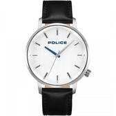 【台南 時代鐘錶 POLICE】義式潮流 MARMOL極簡大三針時尚腕錶 15923JS-04 皮帶 銀/黑 42mm