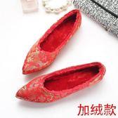 平底新娘結婚鞋 尖頭平跟婚禮鞋 大號紅色敬酒旗袍單鞋女中式繡花 千千女鞋