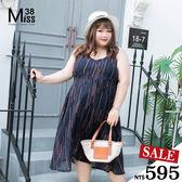 Miss38-(現貨)【A04527】幾何深藍雪紡 細肩可調背交叉 性感收腰 吊帶裙 大碼洋裝 連衣裙-中大尺碼