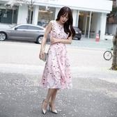 洋裝-無袖粉色荷花印花圓領女連身裙73nj46【巴黎精品】