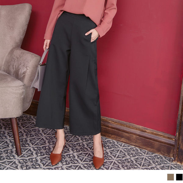《BA3746》純色修飾顯瘦打折西裝寬版褲 OrangeBear