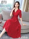 2021夏季新款輕熟桔梗法式收腰顯瘦紅色波點雪紡氣質洋裝女神范 小艾新品