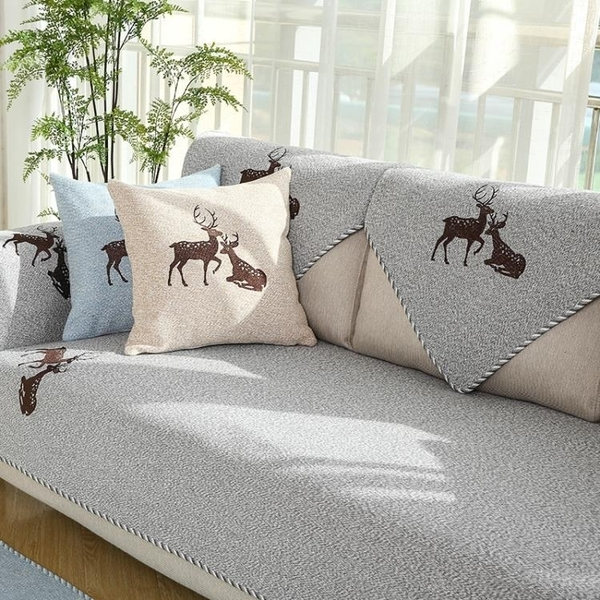沙發罩 沙發墊四季通用布藝皮防滑夏季棉麻實木三人坐墊子北歐套罩巾靠背