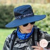 大沿遮陽帽男戶外防曬太陽帽釣魚帽透氣漁夫帽休閒登山帽【大碼百分百】