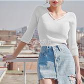 毛衣打底衫 2018秋新款韓版針織衫前交叉V領短款中袖毛衣修身顯瘦打底上衣女 珍妮寶貝