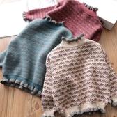 兒童毛衣2020秋冬新款女童毛衣洋氣兒童套頭加絨加厚高領中大童針織打底衫 新品