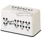 〔小禮堂〕迪士尼 米奇 方型塑膠口罩盒《黑白.大臉》置物盒.收納盒.面紙盒 4973307-43348