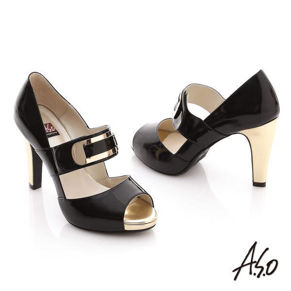 A.S.O 玩美彈力 全真皮鏡面金屬感高跟魚口鞋 黑