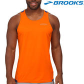 【BROOKS】男款極速乾競賽運動圓領背心 - 夜光橘