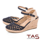 TAS 簡約一字草編楔型涼鞋-深海藍