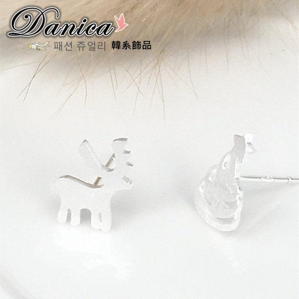 耳環 現貨 韓國氣質甜美聖誕樹麋鹿 不對稱 925銀針 耳環 S92468 批發價 Danica 韓系飾品 韓國連線