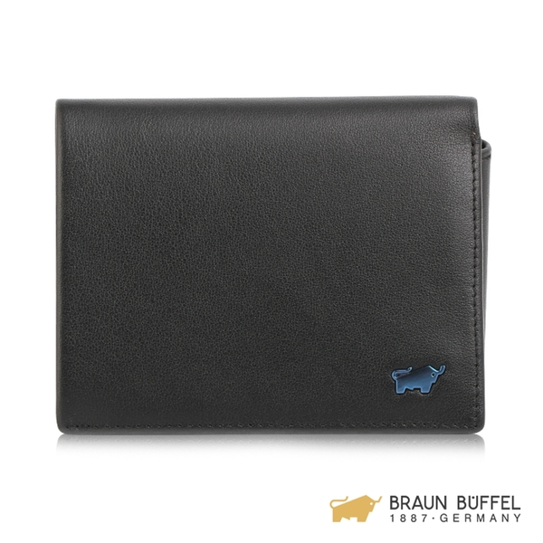 【BRAUN BUFFEL】NEWNOMAD 新游牧族系列6卡左上翻零錢袋皮夾 - 黑色 BF342-334-BK