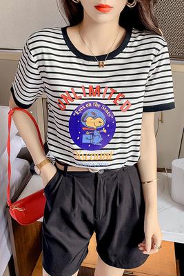 短T~卡通條紋短袖T恤打底衫女時尚百搭顯瘦拼色體恤上衣HF211日韓屋