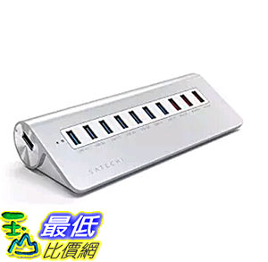 [106美國直購] Satechi 10 Port USB 3.0 Premium Aluminum Hub with 7 Data Ports 和3孔充電孔