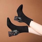 中筒靴女 針織歐鉆短靴中筒靴女秋冬季新款尖頭瘦瘦百搭韓版粗跟加絨女
