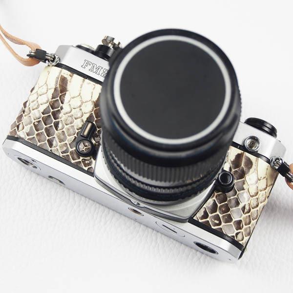 (BEAGLE) nikon fm2 真皮握把及背部相機專用蒙皮-海蛇皮-可訂製其他皮革及顏色-