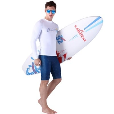 潛水衣 長袖套裝-緊身衝浪舒適排汗男水母衣3色73mf26[時尚巴黎]