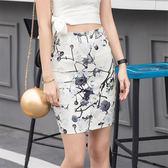 印花高腰半身裙.包臀裙女裝修身韓版優雅碎花中裙一步裙FNA030-E1紅粉佳人