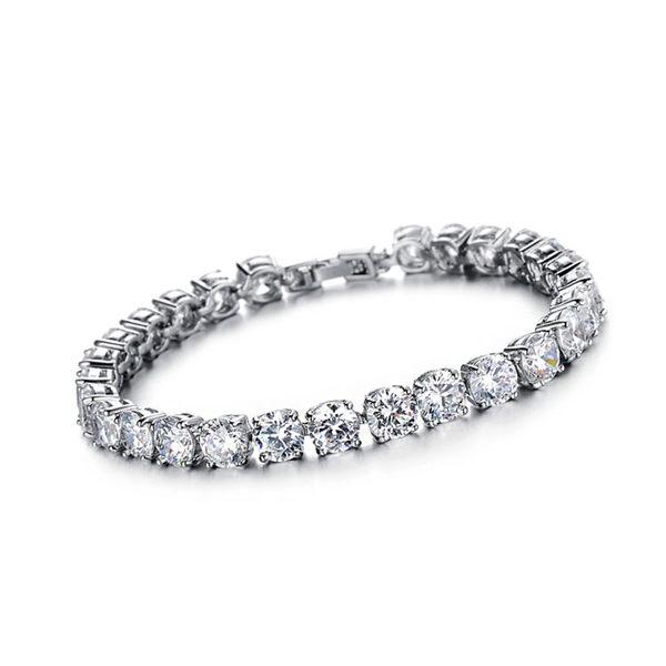 Mao  【5折超值價】最新熱銷款經典時尚皓石鑲鑽造型女款鍍白金手鍊(白鑽款)