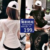 克妹Ke-Mei【AT52856】歐洲站精工美背天使翅膀蕾絲摟空造型T恤上衣