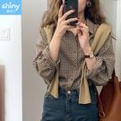 【V3427】shiny藍格子-秋薰芳恬‧復古撞色格紋翻領長袖襯衫