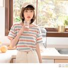 橫條紋配色展現個人特色的休閒感,舒適的高含棉