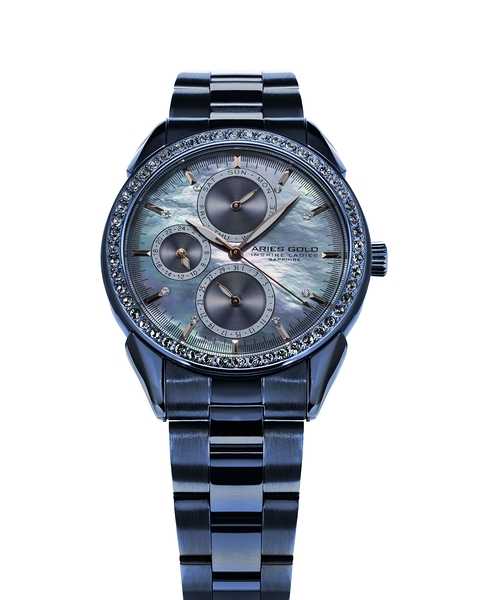 Aries Gold雅力士手錶 L 1156A BU-MOP 獨特氣質三眼女錶 珍珠母貝設計 無錶盒 錶現精品 原廠公司貨