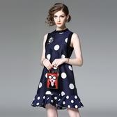 洋裝-無袖圓領波點荷葉邊夏季女連身裙2色73of69【巴黎精品】