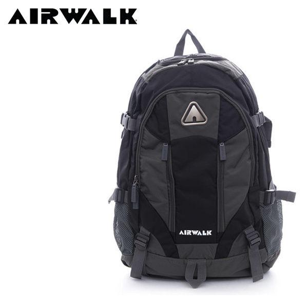 【橘子包包館】AIRWALK 攻頂 大容量雙層筆電登山後背包 A635322820 黑灰