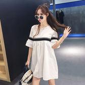 孕婦哺乳裙夏裝洋裝夏季時尚款2018新款中長款寬鬆短袖孕婦裙子 QG2078『優童屋』