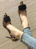 高跟鞋女細跟2019新款春季百搭韓版法式少女網紅淺口豹紋尖頭單鞋