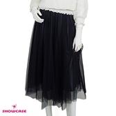 【SHOWCASE】韓系優雅鬆緊腰透色細褶黑網紗裙(藍)