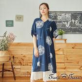 【Tiara Tiara】百貨同步 蒲公英大印花薄款五分袖洋裝(藍/深灰)
