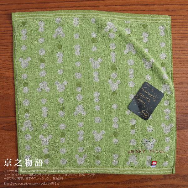 【京之物語】*特價出清*Disney米奇圖案純綿方巾-咖啡色/綠色