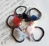 髮束韓系毛球夜明珠緞帶水鑽五色