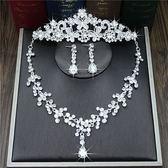 韓式結婚高檔鋯石新娘皇冠頭飾項錬三件套裝宴會禮服飾品婚紗配飾 薔薇時尚