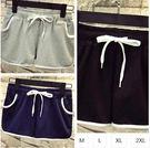 EASON SHOP(GU1410)實拍-抽繩鬆緊腰條紋運動短褲熱褲M-2L寬鬆寬褲女綁帶閨蜜裝藏藍色黑色灰色素色