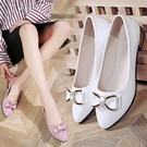 熱賣低跟鞋尖頭單鞋女2021春款夏季潮鞋淺口低跟粗跟軟皮網紅新款女鞋子夏款 【618 狂歡】
