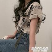法式小眾復古翻領polo衫短袖襯衣夏季寬鬆時尚趣味印花襯衫上衣女 中秋節全館免運