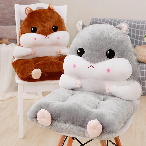 可愛倉鼠連體毛絨坐墊靠墊背加厚學生座墊辦公室餐椅屁股墊子聖誕節交換禮物