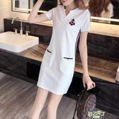 洋裝 胖mm夏季連身裙洋裝女新品休閒大尺碼女裝中長版寬鬆短袖直筒裙