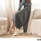 《FA2323》純色柔軟拼織坑條細針織優雅傘襬A字裙 OrangeBear