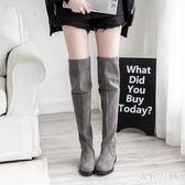 長筒靴中大尺碼過膝顯瘦復古新款秋冬款女士英倫風網紅時尚瘦瘦靴潮 FR78【衣好月圓】